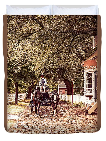 Horse Drawn Wagon Duvet Cover