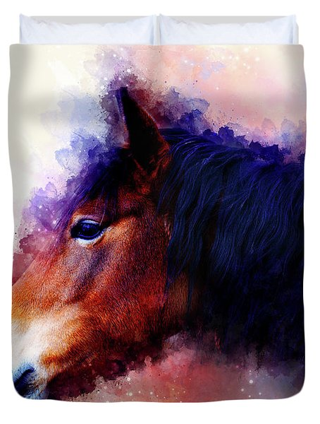Horse Face And Softly Blurred Watercolor Background. Duvet Cover