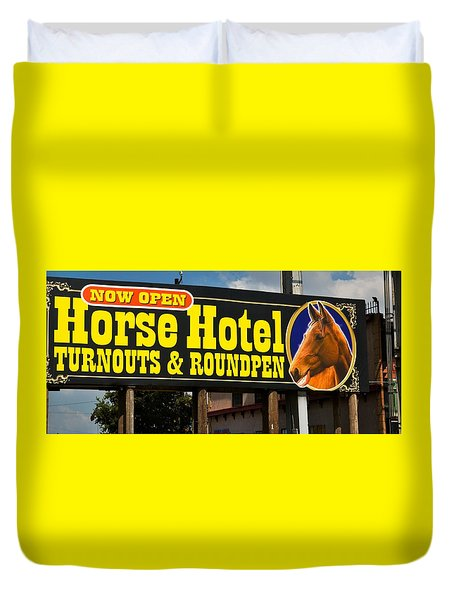 Duvet Cover featuring the photograph Horse Hotel Amarillo Texas by Bob Pardue
