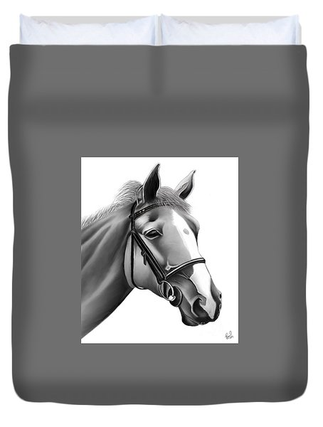 Duvet Cover featuring the painting Horse by Rand Herron