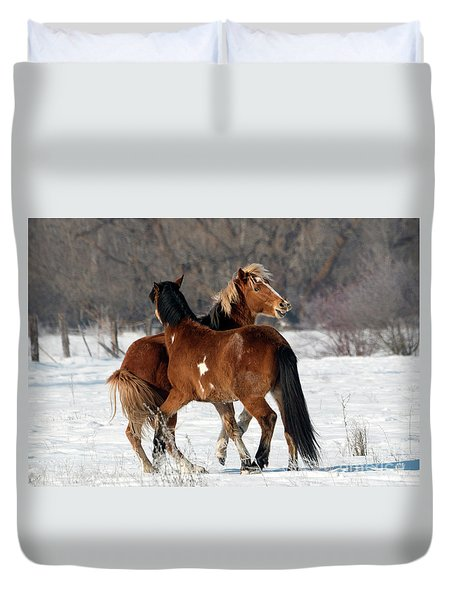 Duvet Cover featuring the photograph Horseplay by Mike Dawson