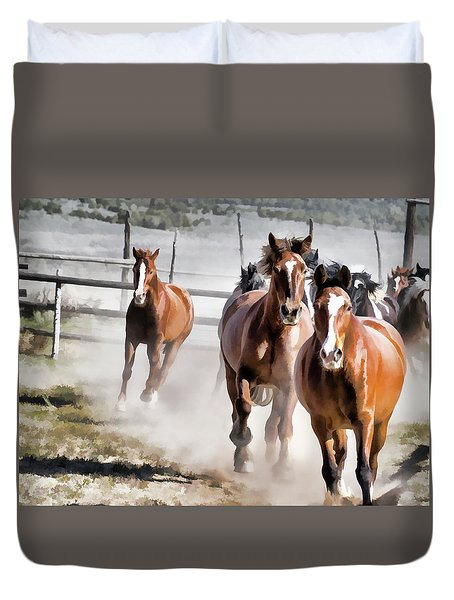 Duvet Cover featuring the digital art Horses Running Into A Dusty Ranch Corral by Nadja Rider