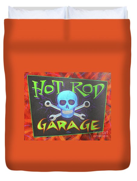 Hot Rod Garage Duvet Cover