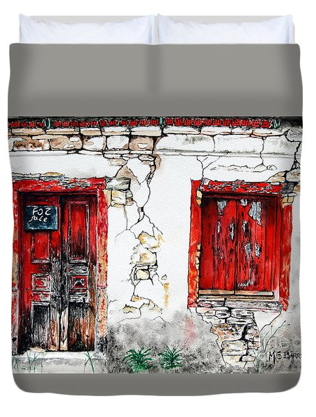 Duvet Cover featuring the painting House For Sale by Maria Barry