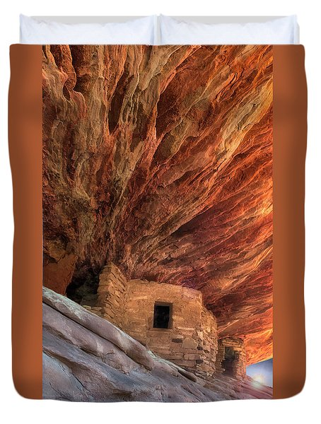 House On Fire Ruins Duvet Cover by Gary Warnimont