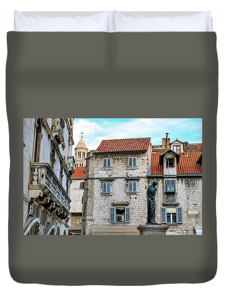 Houses And Cathedral Of Saint Domnius, Dujam, Duje, Bell Tower Old Town, Split, Croatia Duvet Cover by Elenarts - Elena Duvernay photo