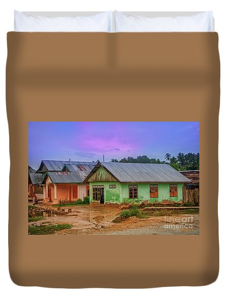 Duvet Cover featuring the photograph Houses by Charuhas Images