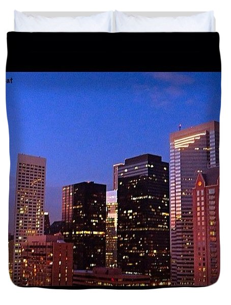 #houston #skyline At Dusk. #night Duvet Cover by Austin Tuxedo Cat