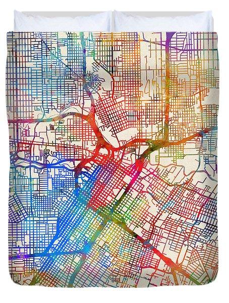 Houston Texas City Street Map Duvet Cover
