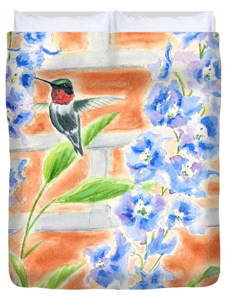Hummer And Delphiniums Duvet Cover by Kathryn Duncan