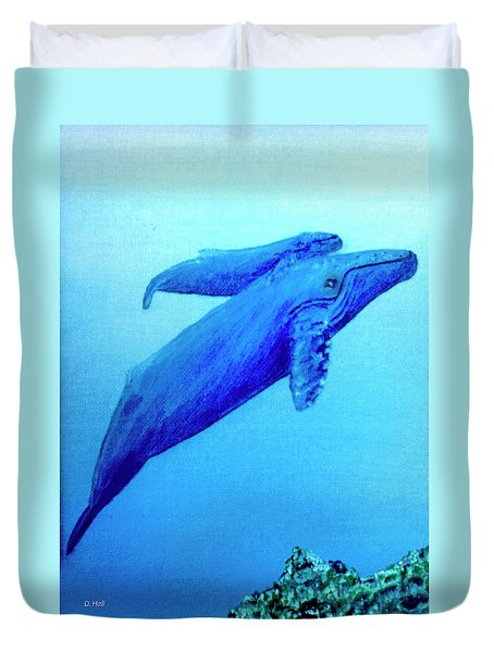 Humpback Mother Whale And Calf #21 Duvet Cover by Donald k Hall