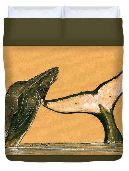 Humpback Whale Painting Duvet Cover