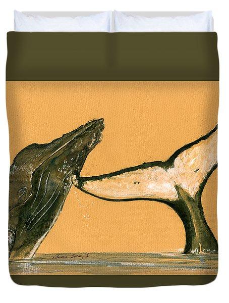 Humpback Whale Painting Duvet Cover by Juan  Bosco