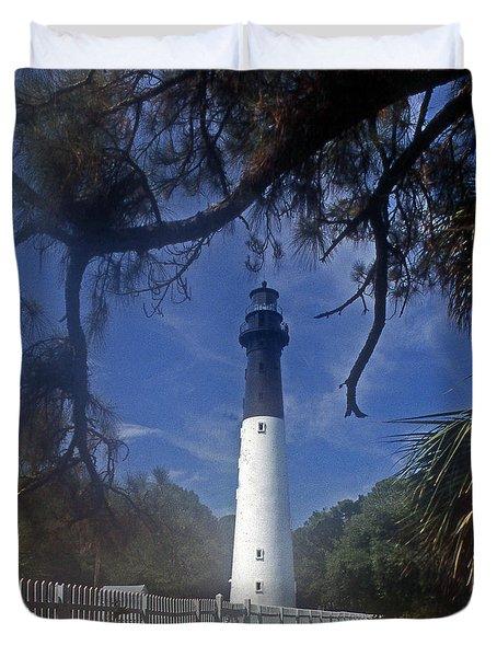 Lh 8-3 Hunting Island Lighthouse Sc Duvet Cover