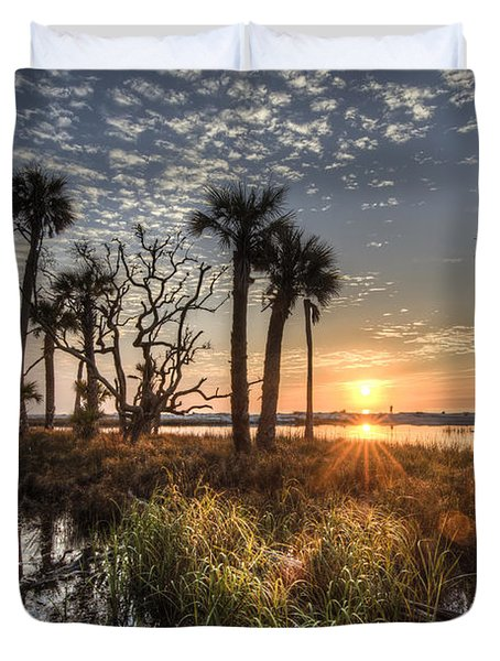 Hunting Island State Park Beach Sunrise Duvet Cover