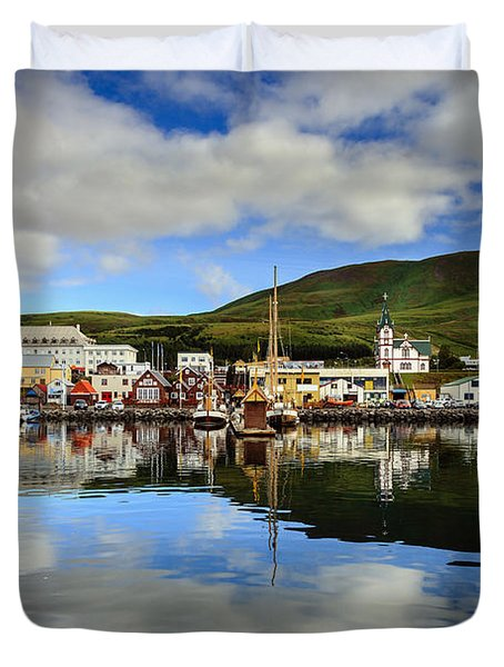 Husavik Harbor Duvet Cover