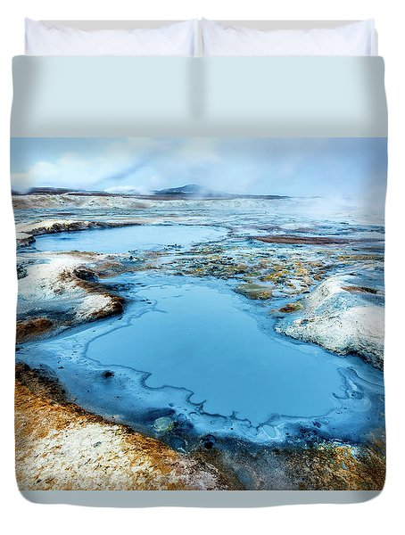 Hverir Steam Vents In Iceland Duvet Cover by Joe Belanger