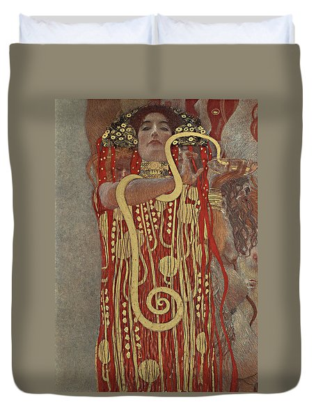 Duvet Cover featuring the painting Hygieia by Gustav Klimt