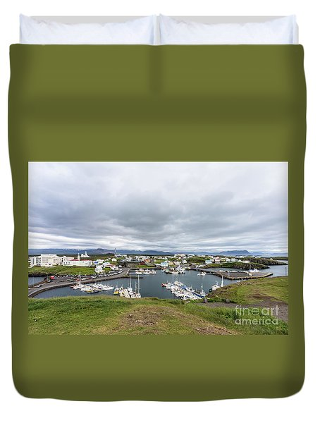 Iceland Fisherman Harbor Duvet Cover
