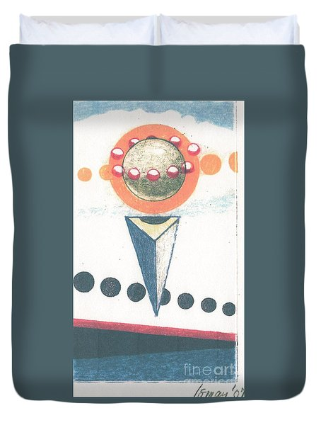 Duvet Cover featuring the drawing Idea Ismay by Rod Ismay
