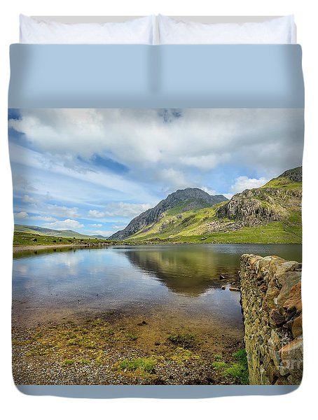 Duvet Cover featuring the photograph Idwal Lake Snowdonia by Adrian Evans