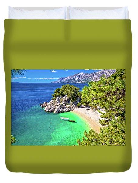Idyllic Beach Punta Rata In Brela Aerial View Duvet Cover