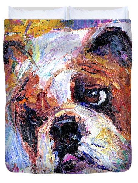 Impressionistic Bulldog painting  Duvet Cover by Svetlana Novikova