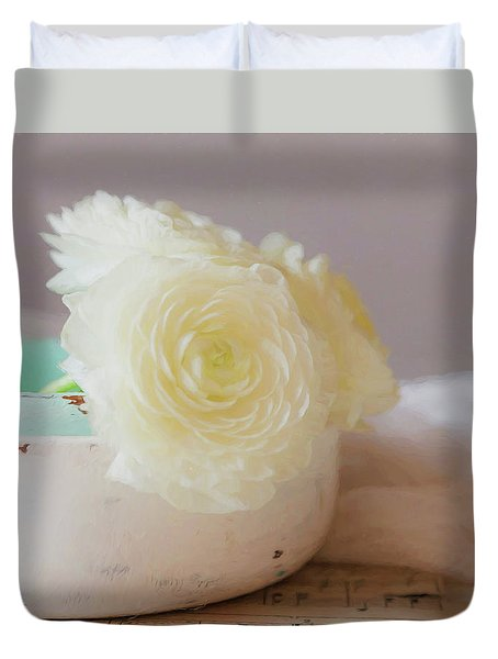 Duvet Cover featuring the photograph In A White Bowl by Kim Hojnacki