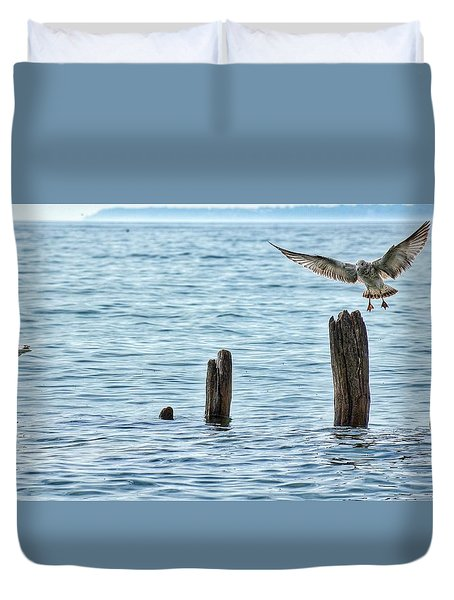 Duvet Cover featuring the photograph In Flight by Nikki McInnes
