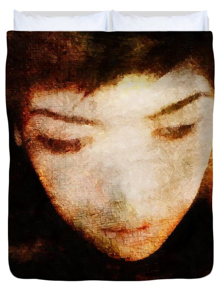 Duvet Cover featuring the digital art In Thoughts by Gun Legler
