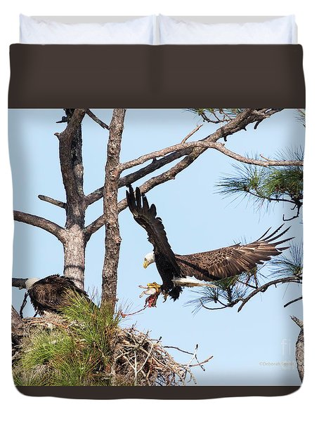 Duvet Cover featuring the photograph Incoming Food by Deborah Benoit