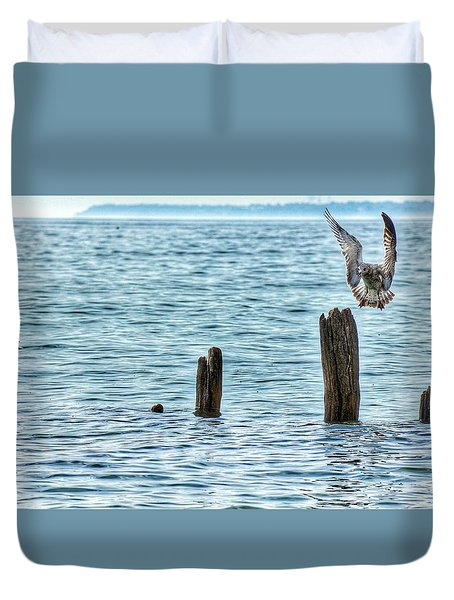 Duvet Cover featuring the photograph Incoming by Nikki McInnes