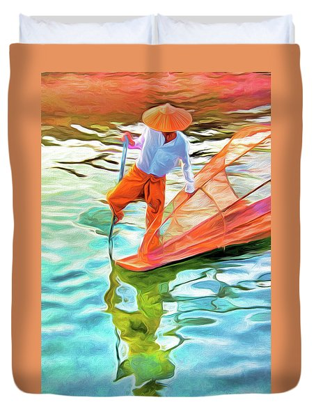 Inle Lake Leg-rower Duvet Cover by Dennis Cox