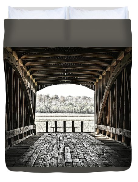 Inside The Covered Bridge Duvet Cover by Joanne Coyle