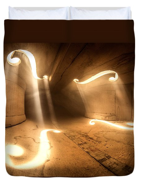 Inside Violin Duvet Cover