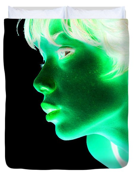 Inverted Realities - Green  Duvet Cover by Serge Averbukh