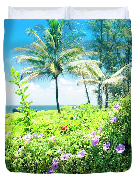 Ipomoea Keanae Morning Glory Maui Hawaii Duvet Cover by Sharon Mau