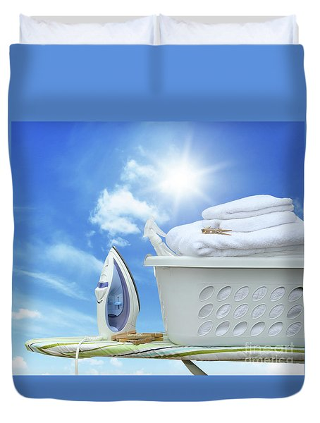 Iron On Ironing Board With Basket Duvet Cover