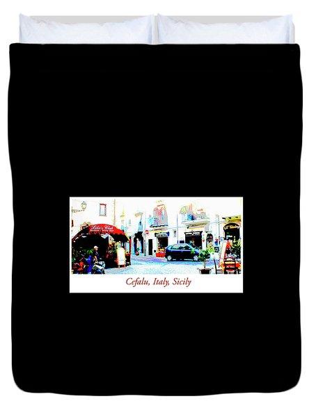 Italian City Street Scene Digital Art Duvet Cover