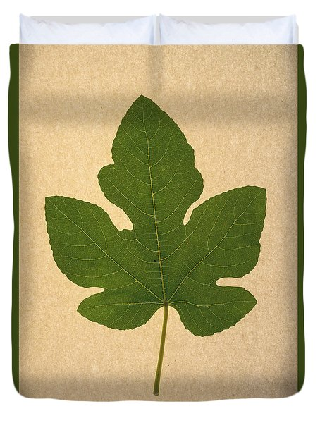Duvet Cover featuring the photograph Italian Honey Fig Leaf by Frank Wilson
