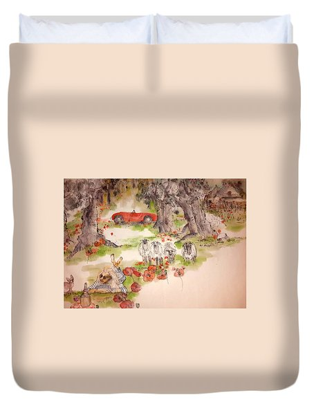 Duvet Cover featuring the painting Italy Love Life And  Linguini Album by Debbi Saccomanno Chan
