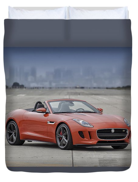 Duvet Cover featuring the photograph Jaguar F-type Convertible by ItzKirb Photography