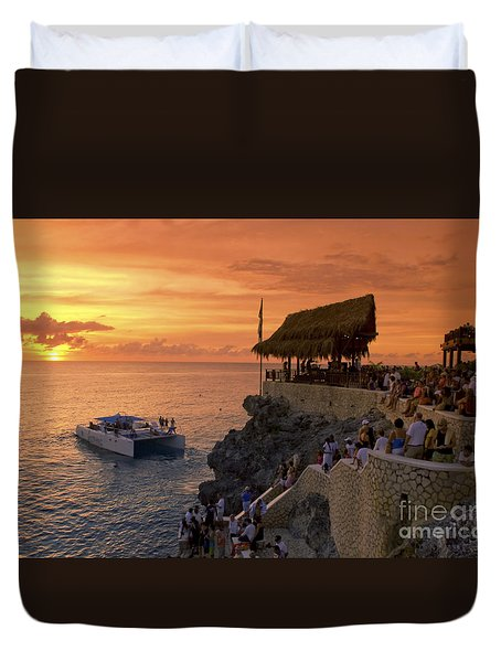 Duvet Cover featuring the photograph Jamaica Negril Ricks Cafe by Juergen Held