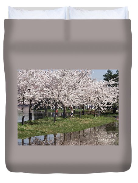 Japanese Cherry Blossom Trees Duvet Cover by April Sims