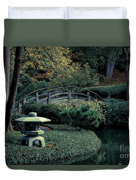 Duvet Cover featuring the photograph Japanese Garden In Summer by Iris Greenwell