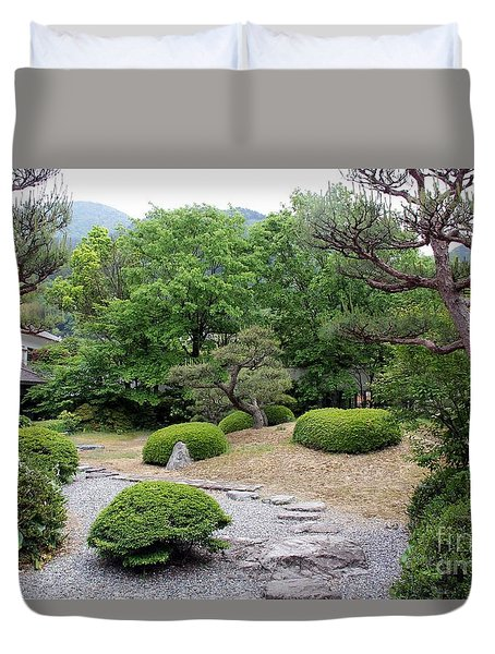 Duvet Cover featuring the photograph Japanese Garden by Yumi Johnson