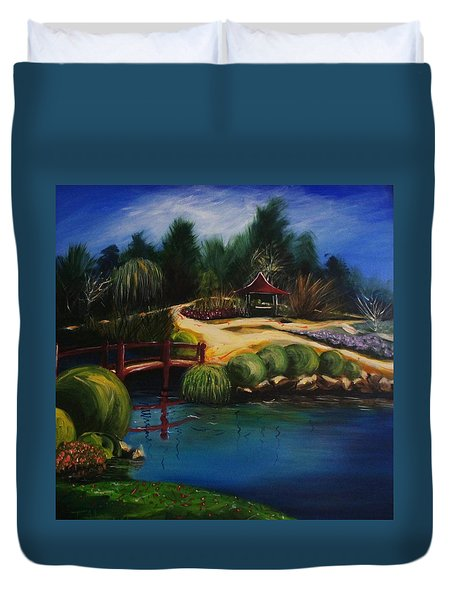 Duvet Cover featuring the painting Japanese Gardens - Original Sold by Therese Alcorn