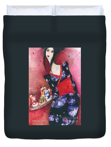 Duvet Cover featuring the painting Japanese Girl by Maya Manolova