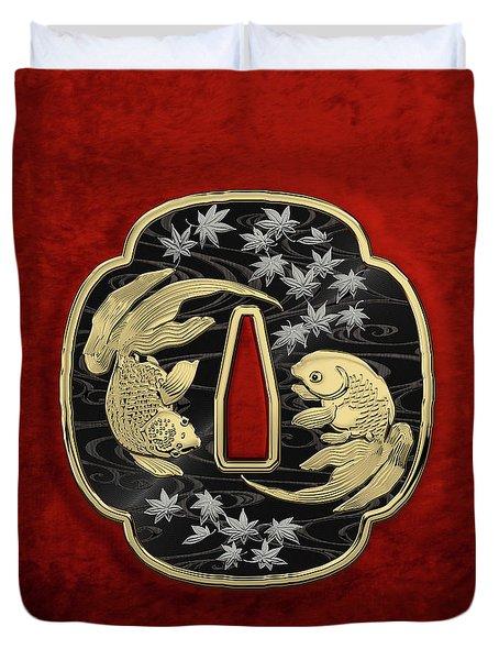Japanese Katana Tsuba - Twin Gold Fish On Black Steel Over Red Velvet Duvet Cover