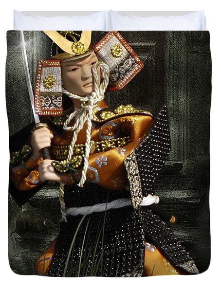 Japanese Samurai Doll Duvet Cover by Christine Till